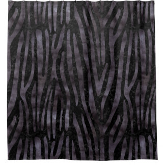 SKIN4 BLACK MARBLE & BLACK WATERCOLOR (R) SHOWER CURTAIN