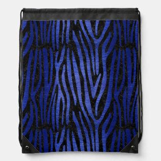 SKIN4 BLACK MARBLE & BLUE BRUSHED METAL (R) DRAWSTRING BAG