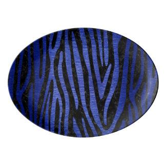 SKIN4 BLACK MARBLE & BLUE BRUSHED METAL (R) PORCELAIN SERVING PLATTER