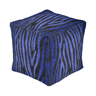 SKIN4 BLACK MARBLE & BLUE BRUSHED METAL (R) POUF