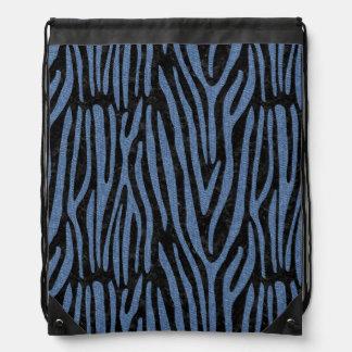 SKIN4 BLACK MARBLE & BLUE DENIM (R) DRAWSTRING BAG