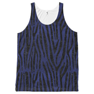 SKIN4 BLACK MARBLE & BLUE LEATHER All-Over PRINT SINGLET