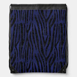 SKIN4 BLACK MARBLE & BLUE LEATHER DRAWSTRING BAG