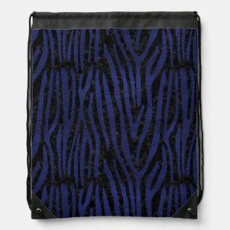 SKIN4 BLACK MARBLE & BLUE LEATHER (R) DRAWSTRING BAG
