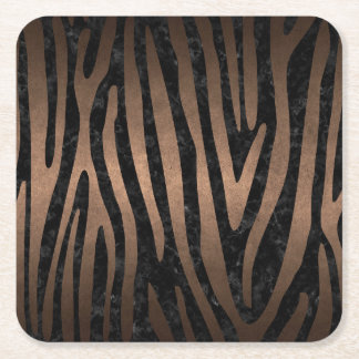 SKIN4 BLACK MARBLE & BRONZE METAL (R) SQUARE PAPER COASTER