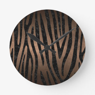 SKIN4 BLACK MARBLE & BRONZE METAL ROUND CLOCK