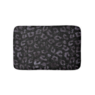 SKIN5 BLACK MARBLE & BLACK WATERCOLOR (R) BATH MAT