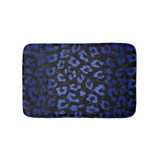 SKIN5 BLACK MARBLE & BLUE BRUSHED METAL (R) BATH MAT