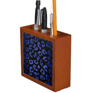 SKIN5 BLACK MARBLE & BLUE BRUSHED METAL (R) DESK ORGANISER