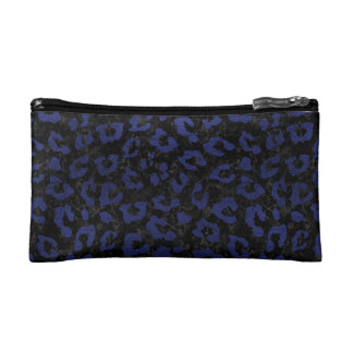 SKIN5 BLACK MARBLE & BLUE LEATHER (R) COSMETIC BAG