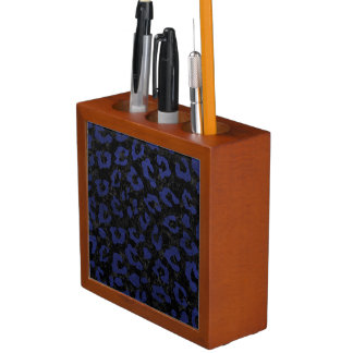 SKIN5 BLACK MARBLE & BLUE LEATHER (R) DESK ORGANISER