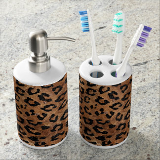 SKIN5 BLACK MARBLE & BROWN STONE SOAP DISPENSER AND TOOTHBRUSH HOLDER