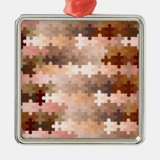 Skin Tone Jigsaw Pieces Metal Ornament