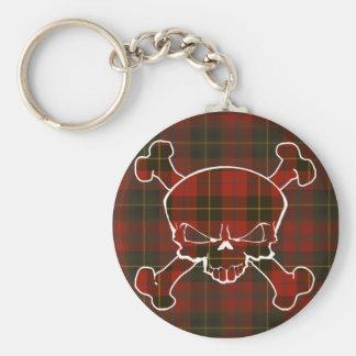 Skinner Tartan Skull No Banner Basic Round Button Key Ring