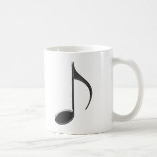 Skinny Black 8th Music Note on white Background Coffee Mug