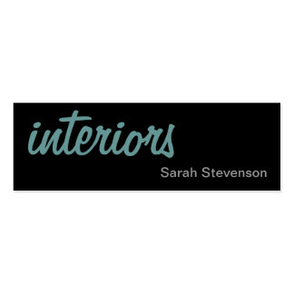 Skinny Black Blue Interior Designer Business Card