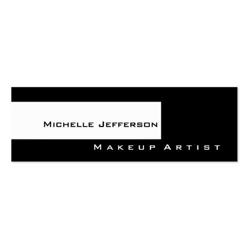 Skinny Black White Makeup Artist Business Card