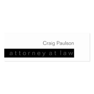 Skinny Black White Trend Attorney Business Card
