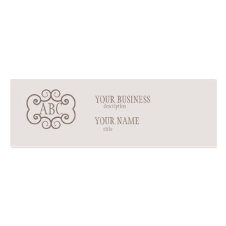 Skinny Business Card Std Paper Champagne Monogram