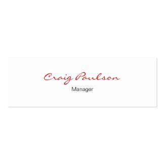 Skinny Elegant Script White Red Business Card