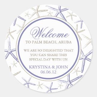 Skinny Finger Starfish Wedding Welcome Round Sticker
