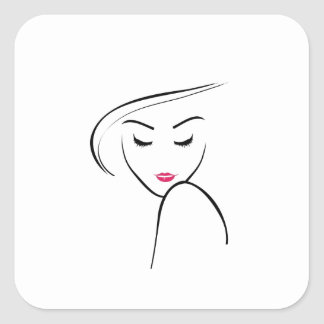 skinny girl in pink lipstick square sticker