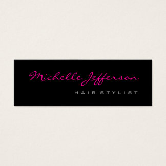 Skinny Hair Stylist Script Grey Pink Business Card