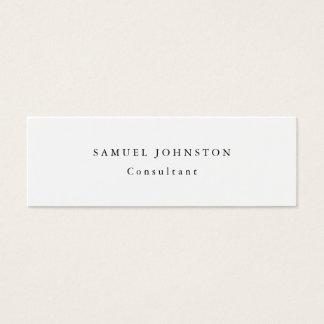 Skinny Minimalist Plain Simple White Professional Mini Business Card