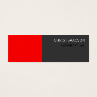 Skinny Modern Red Gray Simple Plain Business Card