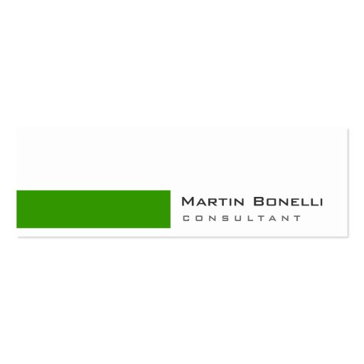Skinny Modern White Green Simple Business Card