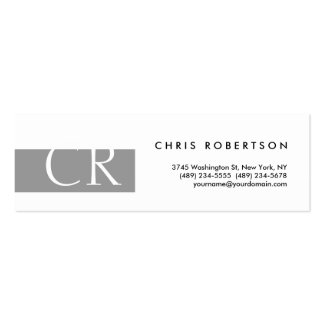 Skinny Monogram Black White Grey Business Card