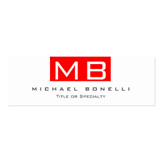 Skinny Monogram White Red Trendy Business Card