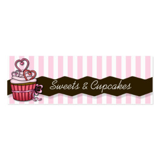 skinny pink cupcake cards pack of skinny business cards