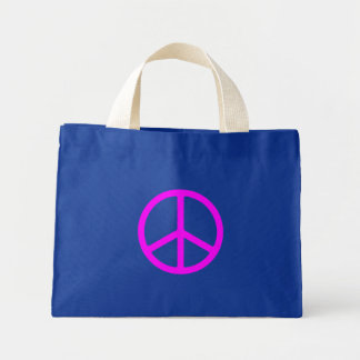 Skinny Pink Peace Sign Canvas Tote Tote Bag