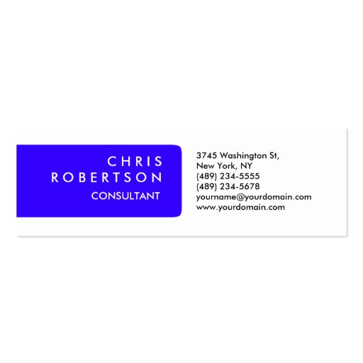 Skinny Plain Blue White Attractive Business Card