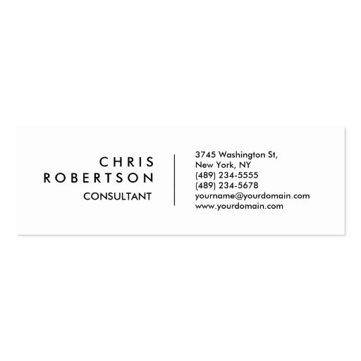 Skinny Plain White Attractive Business Card