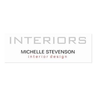 Skinny Plain White Interior Designer Business Card
