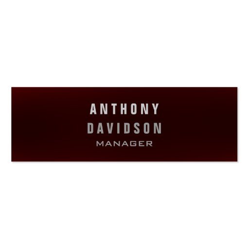 Skinny Professional Dark Red Manager Business Card