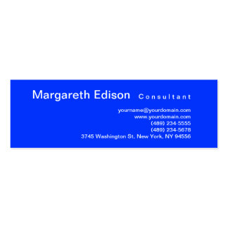 Skinny Professional Plain Blue Business Card