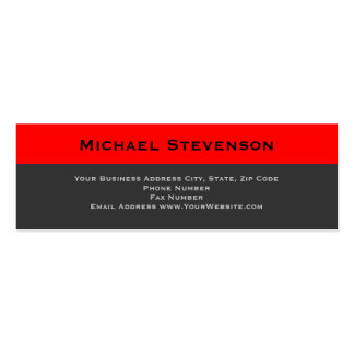 Skinny Red Grey Consultant Business Card