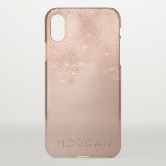 Skinny Rose Gold Glitter Italian Minimalism Name iPhone X Case