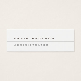 Skinny Simple Stylish Plain White Business Card