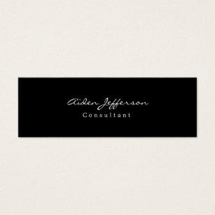 Career coach business cards business card printing zazzle skinny stylish simple plain black white minimalist mini business card reheart Gallery