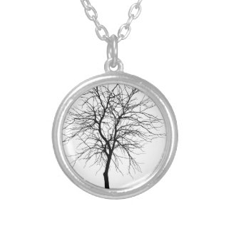 Skinny Tree Silver Plated Necklace