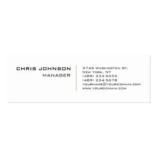 Skinny Trendy White Red Manager Business Card