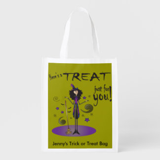 Skinny Whimsical Witch Illustration Trick or Treat Market Tote