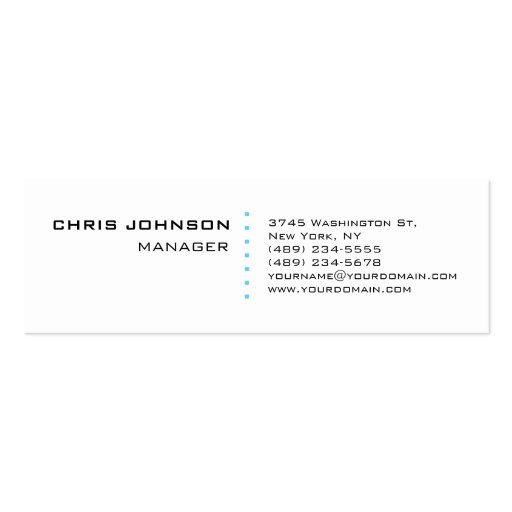 Skinny White Blue Points Manager Business Card