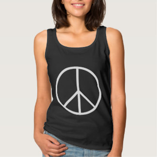 Skinny White Peace Symbol Singlet