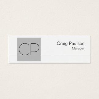 Skinny White Silver Grey Monogram Business Card