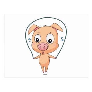 Skipping pig postcard